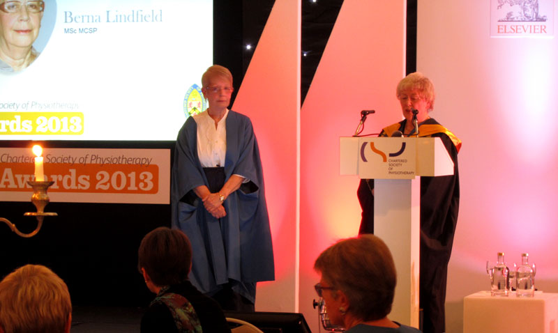 Berna Lindfield at The Chartered Society of Physiotherapy (CSP) award ceremony 2013